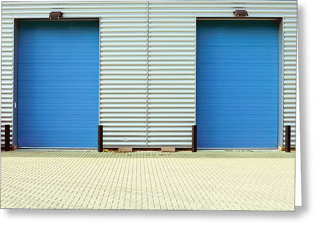 Factory Doors Greeting Card by Tom Gowanlock
