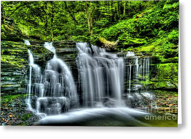 Moss Green Greeting Cards - Falls  Greeting Card by Paul W Faust -  Impressions of Light
