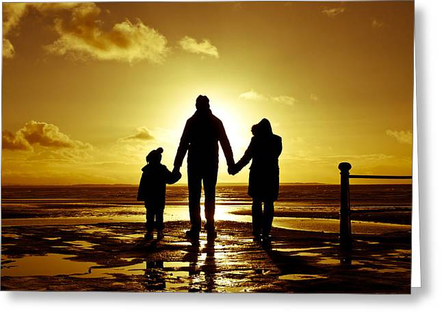 Weekend Photographs Greeting Cards - Family at the coast Greeting Card by Tom Gowanlock