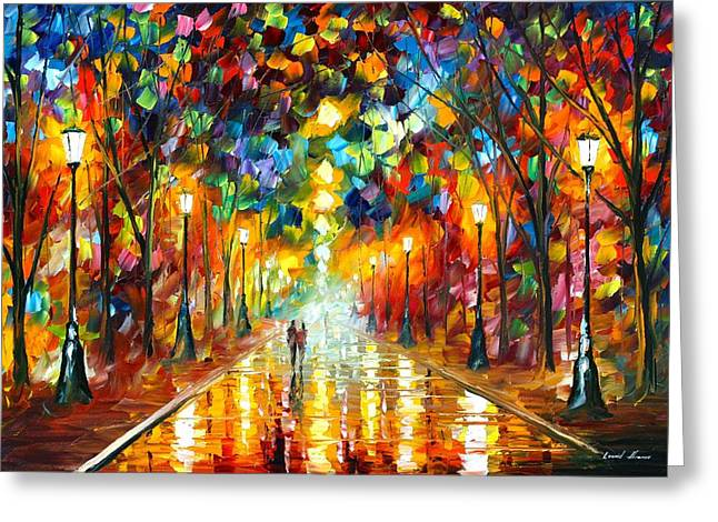 Abstract Oil Greeting Cards - Farewell To Anger Greeting Card by Leonid Afremov