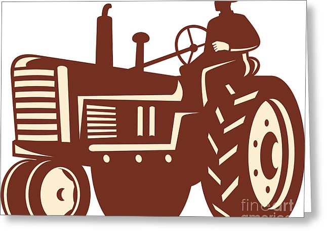 Driving Machine Greeting Cards - Farmer Driving Vintage Tractor Retro Greeting Card by Aloysius Patrimonio