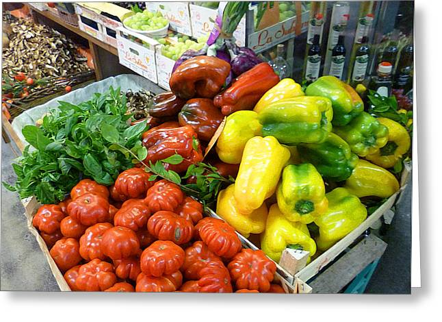 Harvest Art Greeting Cards - Farmers Market Florence Italy Greeting Card by Irina Sztukowski