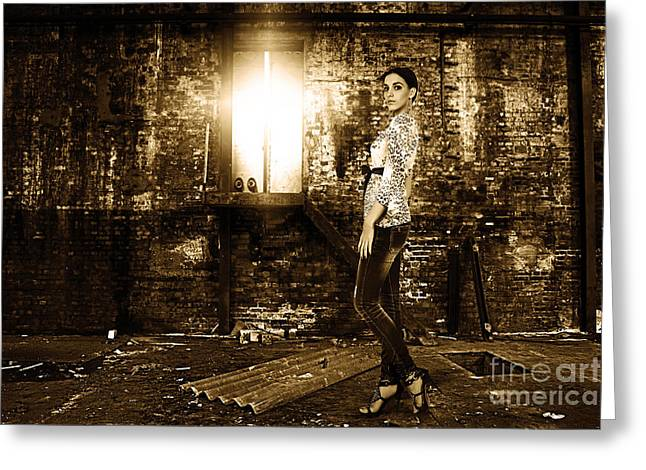 Loose Style Photographs Greeting Cards - Fashion Model in Jeans  Greeting Card by Milan Karadzic