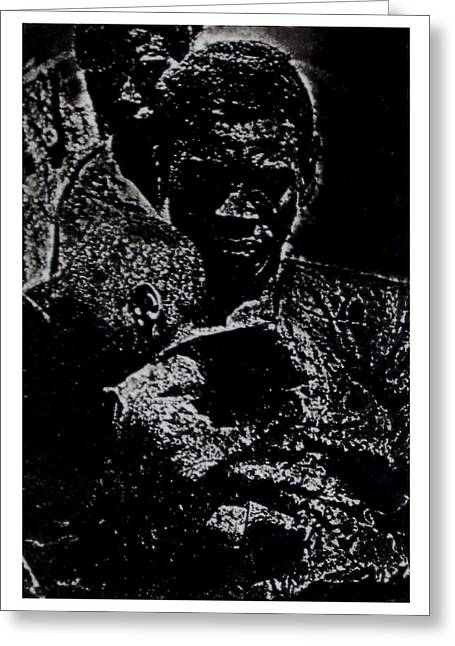 Printmaking Greeting Cards - Father and Son Greeting Card by Terrance Robinson