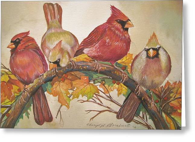 Cheryl Borchert Greeting Cards - Feathered Friends Greeting Card by Cheryl Borchert