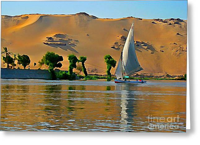 Famous Photographer Greeting Cards - Felluca on the Nile Greeting Card by John Malone