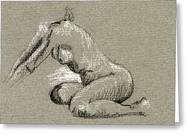 Classic Study Greeting Cards - Female nude study Greeting Card by Juan  Bosco