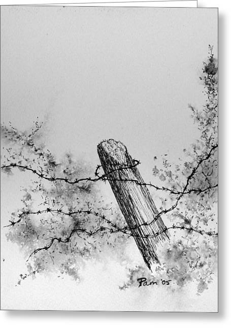 Old Fence Posts Paintings Greeting Cards - Fence with Barbed Wire Greeting Card by Pam Belcher