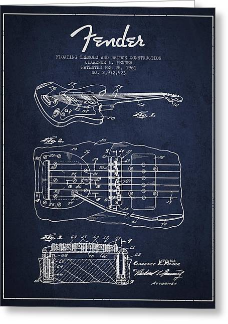 Tremolo Greeting Cards - Fender Floating Tremolo patent Drawing from 1961 - Navy Blue Greeting Card by Aged Pixel