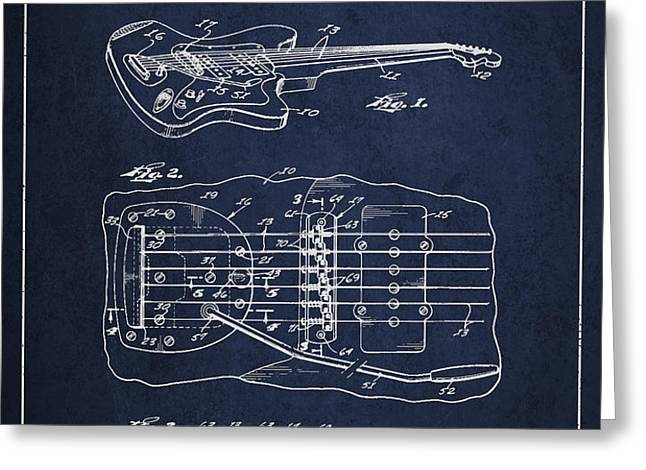 Fender Floating Tremolo patent Drawing from 1961 - Navy Blue Greeting Card by Aged Pixel
