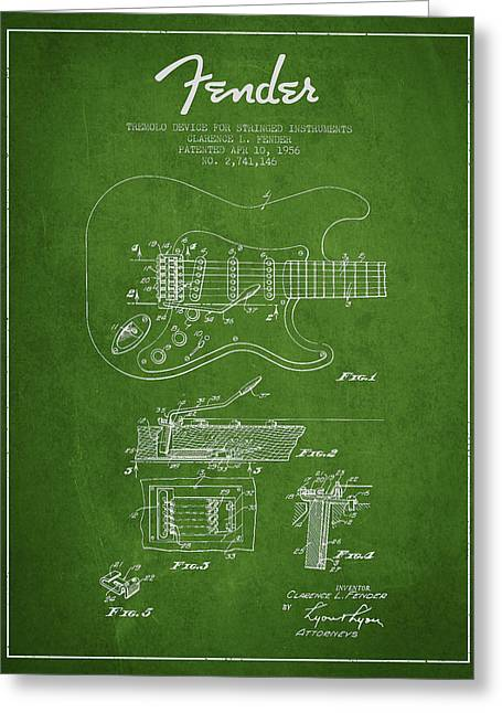 String Instruments Greeting Cards - Fender Tremolo Device patent Drawing from 1956 Greeting Card by Aged Pixel