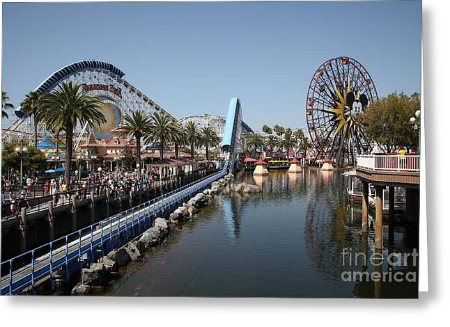 Disneyland Park Greeting Cards - Ferris Wheel and Roller Coaster - Paradise Pier - Disney California Adventure - Anaheim California - Greeting Card by Wingsdomain Art and Photography