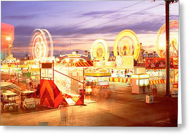 Amusements Greeting Cards - Ferris Wheel In An Amusement Park Greeting Card by Panoramic Images