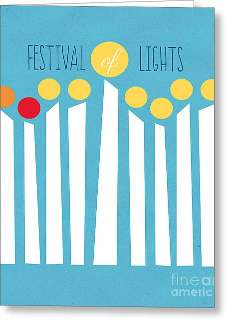 Artwork Mixed Media Greeting Cards - Festival Of Lights Greeting Card by Linda Woods