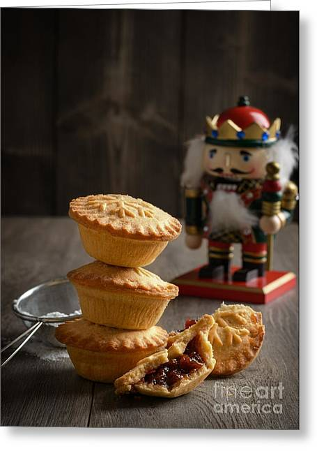 Icing Sugar Greeting Cards - Festive Mince Pies Greeting Card by Amanda And Christopher Elwell