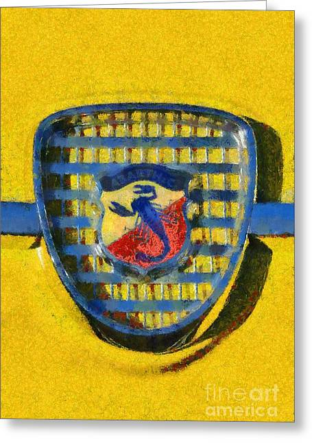 Car Mascot Paintings Greeting Cards - Fiat Abarth badge Greeting Card by George Atsametakis