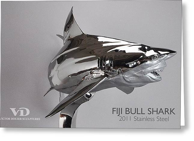 Sharks Sculptures Greeting Cards - Fiji Bull Shark Greeting Card by Victor Douieb