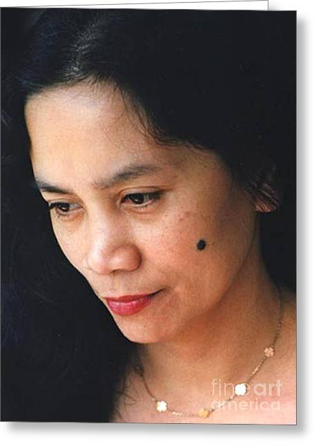 Beauty Mark Greeting Cards - Filipina Beauty with a mole on Her Cheek Greeting Card by Jim Fitzpatrick