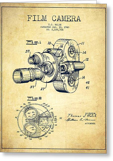 Film Camera Patent Drawing From 1938 Greeting Card by Aged Pixel