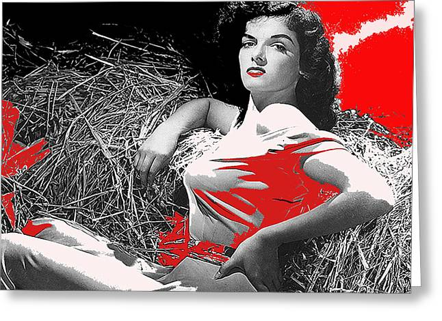 Hurrell Photo Greeting Cards - Film Homage Jane Russell The Outlaw 1943 Publicity Photo Photographer George Hurrell 2012 Greeting Card by David Lee Guss