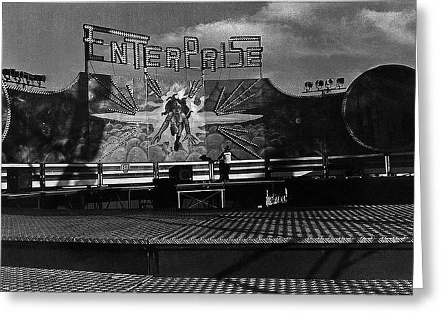 Arizona State Fair Greeting Cards - Film Noir Tyrone Power Coleen Gray Nightmare Alley 1947 Midway Arizona State Fair Phoenix 1980 Greeting Card by David Lee Guss