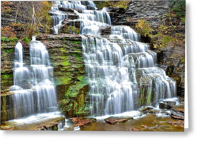 Ledge Greeting Cards - Finger Lakes Waterfall Greeting Card by Frozen in Time Fine Art Photography