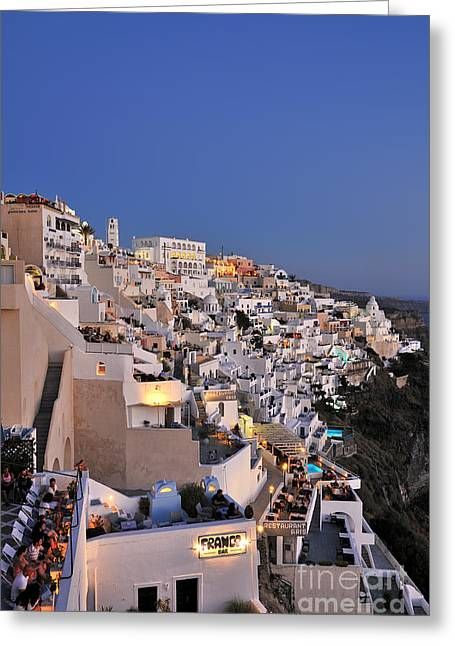 Journey Greeting Cards - Fira town during dusk time Greeting Card by George Atsametakis
