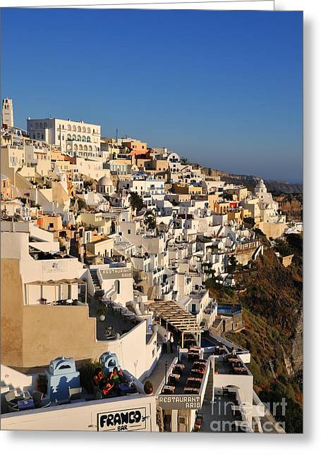 Sight Greeting Cards - Fira town during sunset Greeting Card by George Atsametakis