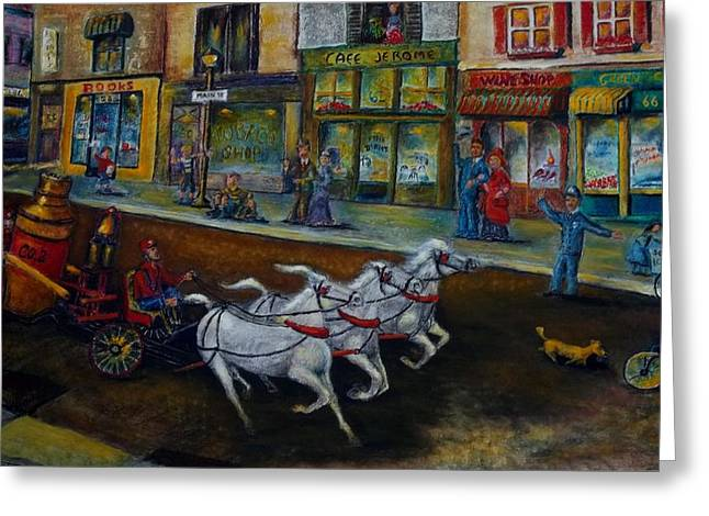 Observer Greeting Cards - Fire on Main Street Greeting Card by William Gabel