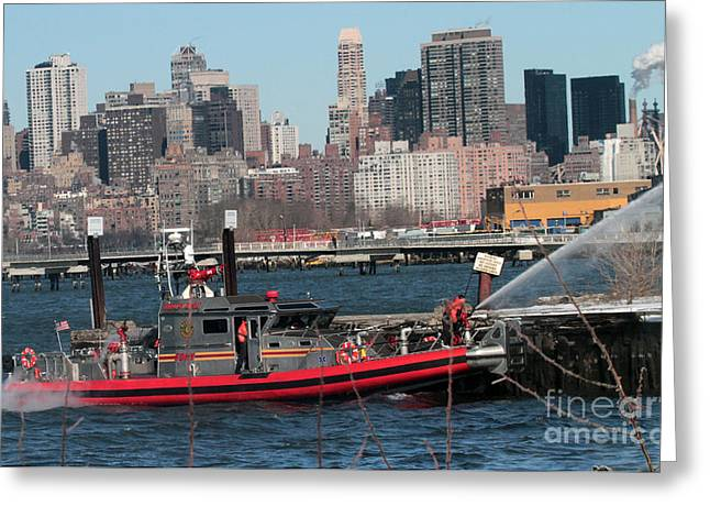 Fireboat Greeting Cards - Fireboat in Action at 7 Alarm Fire Greeting Card by Steven Spak