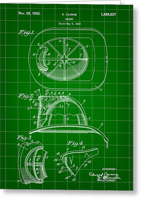 Hazmat Greeting Cards - Firefighters Helmet Patent 1932 - Green Greeting Card by Stephen Younts