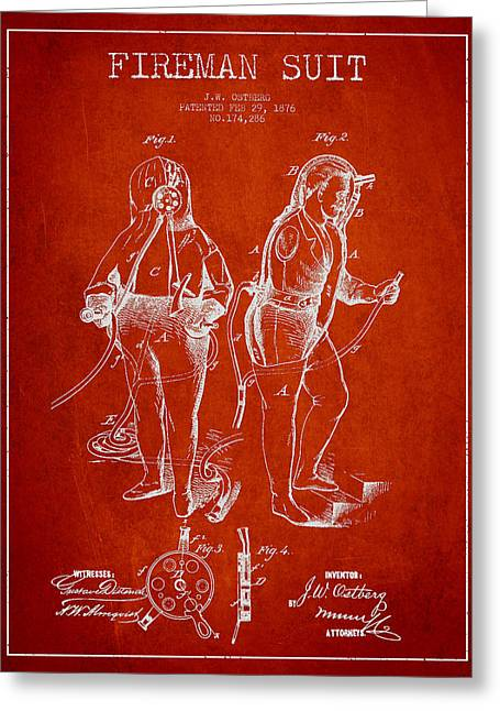Firemen Art Greeting Cards - Fireman Suit Patent drawing from 1826 Greeting Card by Aged Pixel