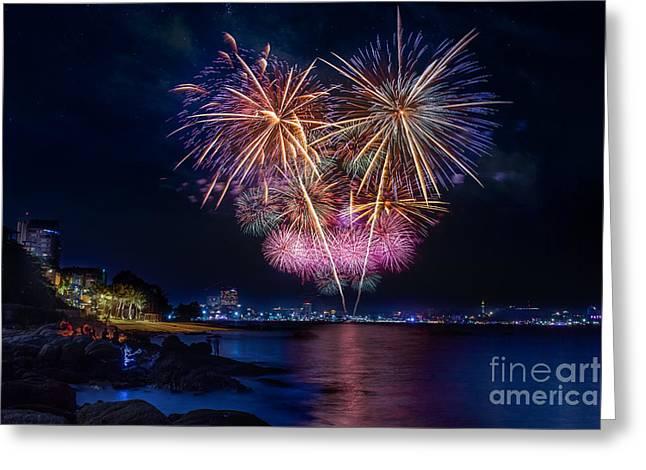 Pyrotechnics Greeting Cards - Fireworks at Pattaya beach Greeting Card by Anek Suwannaphoom