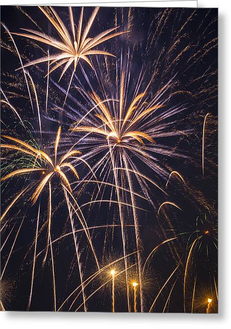 Pyrotechnics Greeting Cards - Fireworks Celebration  Greeting Card by Garry Gay