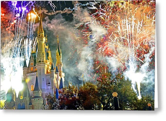 Recently Sold -  - Pyrotechnics Greeting Cards - Fireworks Cinderellas Castle Walt Disney World Greeting Card by A Gurmankin