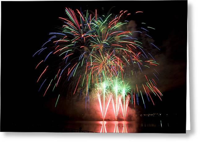Pyrotechnics Greeting Cards - Fireworks Display Greeting Card by Michel Rathwell
