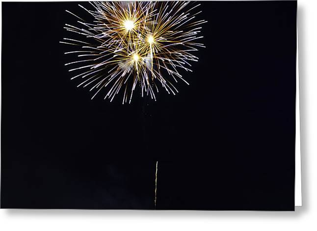 Fireworks Shell Burst over the St Petersburg Pier Greeting Card by Jay Droggitis