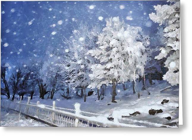 Snow Scene Landscape Greeting Cards - First snow Greeting Card by Gun Legler