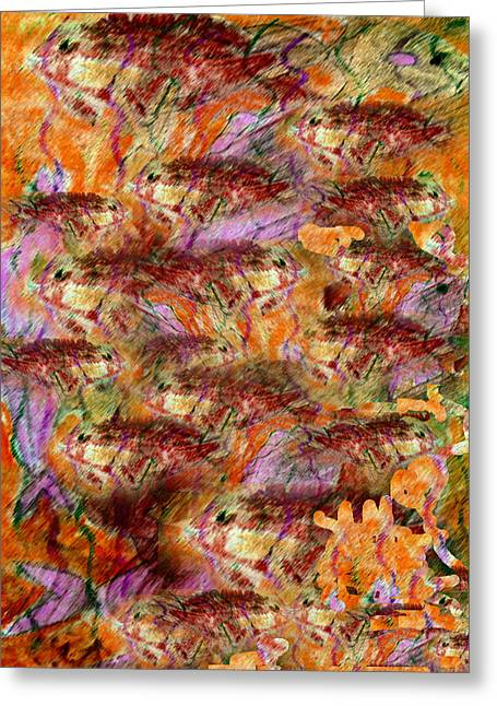 Conceptual Pastels Greeting Cards - Fish Frenzy Greeting Card by Patricia Januszkiewicz