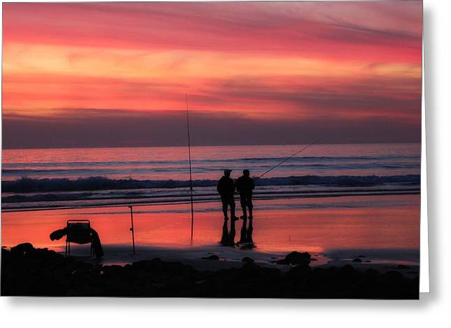 Surf Silhouette Greeting Cards - Fishing at Sunset in Cadiz Greeting Card by Mountain Dreams