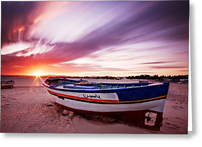 Fishing Boat Sunset Greeting Cards - Fishing Boat at Sunset / Tunisia Greeting Card by Barry O Carroll
