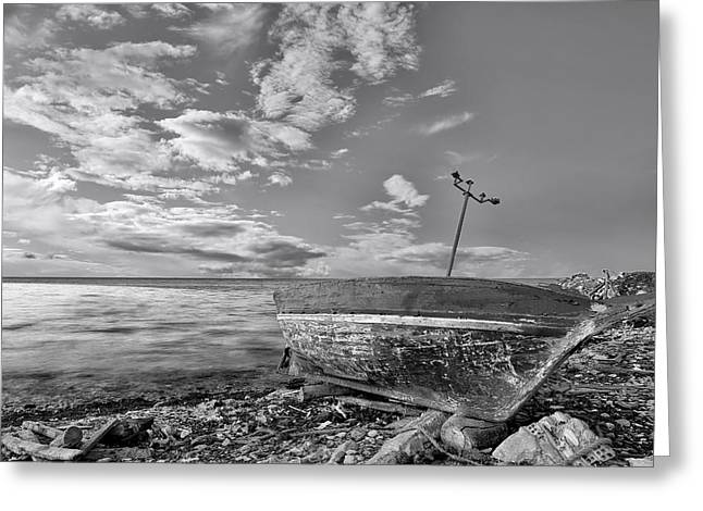 Wooden Ship Greeting Cards - Fishing Boat Greeting Card by Paul Fell