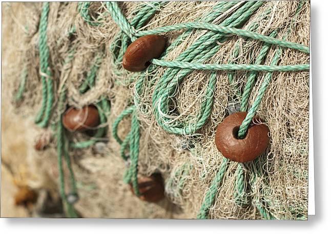 Old Fishing Gear Greeting Cards - Fishing nets background Greeting Card by Deyan Georgiev