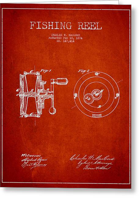 Fishing Greeting Cards - Fishing Reel Patent from 1874 Greeting Card by Aged Pixel