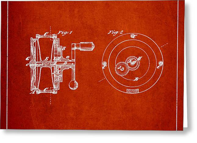 Fishing Reel Patent from 1874 Greeting Card by Aged Pixel
