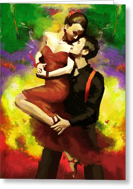 Coordination Greeting Cards - Flamenco Dancer 029 Greeting Card by Catf