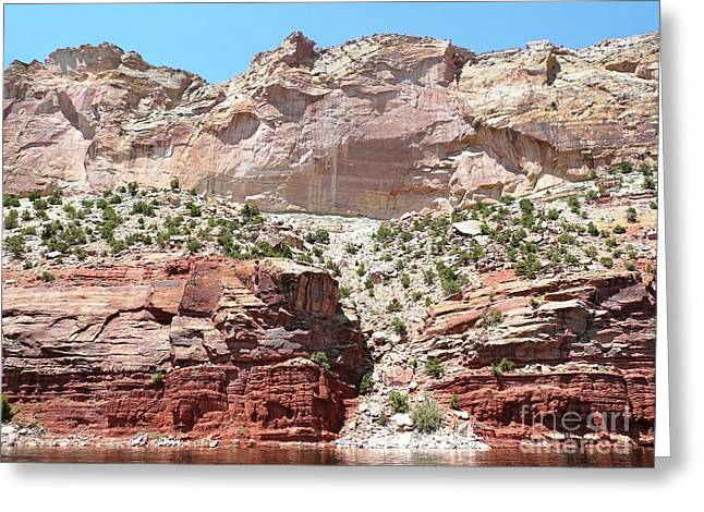 Red Photographs Pastels Greeting Cards - Flaming Gorge pink cliffs Greeting Card by Brian Shaw