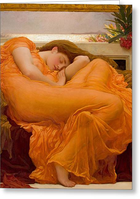 Sunset Posters Greeting Cards - Flaming June Greeting Card by Frederick Leighton