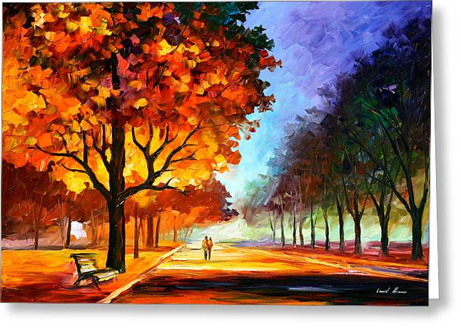 Owner Greeting Cards - Flaming Night Greeting Card by Leonid Afremov