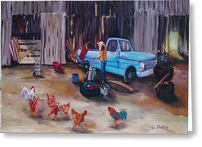 Old Barn Drawing Paintings Greeting Cards - Flat Tire Greeting Card by Gail Daley